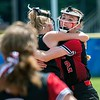 STANDISH, ME - JUNE 19: Hall-Dale mobs pitcher Rita Benoit, top right,  after she threw final strike during the Class C softball state championship Saturday June 19, 2021 on Richard W. Bailey softball field in Standish. (Staff photo by Joe Phelan/Staff Photographer)