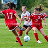 AUGUSTA, ME - SEPTEMBER 21: Cony's 17 Dina Wadleigh<br /> , left, Gardiner's Lainey Cooley and Cony's 21Jessyca Nadeau<br /> during a soccer game Tuesday September 21, 2021 at the CAYSA field in Augusta. (Staff photo by Joe Phelan/Staff Photographer)