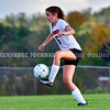 AUGUSTA, ME - SEPTEMBER 21: Gardiner's Lainey Cooley kicks the ball during a soccer game Tuesday September 21, 2021 at the CAYSA field in Augusta. (Staff photo by Joe Phelan/Staff Photographer)