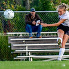 AUGUSTA, ME - SEPTEMBER 21: Gardiner's Ella Shaw shoots and scores on a long shot during a soccer game Tuesday September 21, 2021 at the CAYSA field in Augusta. (Staff photo by Joe Phelan/Staff Photographer)