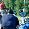 AUGUSTA, ME - AUGUST 6: Ritcher Alex Trafton throws to plate early in  Capitol Bomber's first game against Topsham 202 in the Junior Legion tournament Friday August 6, 2021 on McGuire Field in Augusta. (Staff photo by Joe Phelan/Staff Photographer)