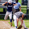 AUGUSTA, ME - AUGUST 7: Skowhegan baserunner Silas Tibbetts legs out a single as the ball gets past Topsham first baseman Landen Chase during Junior Legion tournament Saturday August 7, 2021 on Morton Field in Augusta. (Staff photo by Joe Phelan/Staff Photographer)