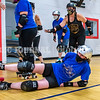 """AUGUSTA, ME - JULY 29: During a drill to practice pack skating, Katie """"War Witch"""" Johnson takes a fall when the pack stopped during Kennebec Valley Roller Derby practice Thursday July 29, 2021 in the gym of the Buker Community Center in Augusta. Players who fell had to go to middle of track and do five pushups before rejoining the pack. (Staff photo by Joe Phelan/Staff Photographer)"""