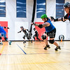 AUGUSTA, ME - JULY 29: Players turn back to starting line as they do wind sprints at the end of Kennebec Valley Roller Derby practice Thursday July 29, 2021 in the gym of the Buker Community Center in Augusta. (Staff photo by Joe Phelan/Staff Photographer)