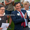 """AUGUSTA, ME - JUNE 30: Rep. Nicole Grohoski, D-Ellsworth, left, and Sen. Richard Bennett, R - Oxford, co-sponsors of LD 194 """"An Act To Prohibit Contributions, Expenditures and Participation by Foreign Government-owned Entities To Influence Referenda"""" at at a news conference about their bill held outside before the session started Wednesday June 30, 2021 at The Maine State House in Augusta. (Staff photo by Joe Phelan/Staff Photographer)"""