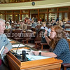 AUGUSTA, ME - JUNE 30: Rep. Jim Thorne, R - Carmel, left, chats with Republican House leader Rep. Kathleen Dillingham, R - Oxford, at her desk on the House floor before the session started Wednesday June 30, 2021 at The Maine State House in Augusta. It was the first day of the 130th Legislature that members could attend with out a face covering. (Staff photo by Joe Phelan/Staff Photographer)