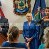 AUGUSTA, ME - JUNE 30: Dr. Nirav Shah, director of the Maine Center for Disease Control, left, Gov. Janet Mills, and American Sign Language interpreter Josh Seal during the last regularly scheduled coronavirus news conference Wednesday June 30, 2021 in the cabinet room of Maine State House in Augusta. (Staff photo by Joe Phelan/Staff Photographer)