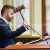 AUGUSTA, ME - JUNE 30: Speaker of the House Ryan Fecteau, D-Biddeford, pounds the gavel at start of session Wednesday June 30, 2021 at The Maine State House in Augusta. It was the first day of the 130th Legislature that members could attend with out a face covering. (Staff photo by Joe Phelan/Staff Photographer)