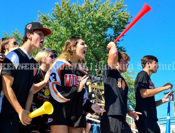 WINSLOW, ME - SEPTEMBER 18: Winslow fans cheer for their Raiders  during a football game Saturday September 18, 2021 at Gerry Poulin Memorial Field in Winslow. (Staff photo by Joe Phelan/Staff Photographer)