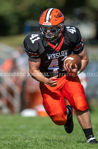 WINSLOW, ME - SEPTEMBER 18: Winslow running back Jack Dorval runs the ball during a football game Saturday September 18, 2021 at Gerry Poulin Memorial Field in Winslow. (Staff photo by Joe Phelan/Staff Photographer)