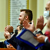 AUGUSTA, ME - SEPTEMBER 7: Speaker of the House Ryan Fecteau, D-Biddeford, applauds during Maine Franco-American Hall of Fame Induction Ceremony Tuesday September 7, 2021 at the Maine State House in Augusta. (Staff photo by Joe Phelan/Staff Photographer)