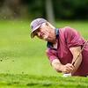 VASSALBORO, ME - AUGUST 24: Tom Foley, of Riverside Golf Club, hits out of bunker during Maine Senior Am golf tournament Tuesday August 24, 2021 at Natanis Golf Course in Vassalboro. (Staff photo by Joe Phelan/Staff Photographer)