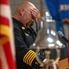 MADISON, MAINE- AUGUST 28, 2021<br /> Jeremy Manzer, Anson fire chief, becomes emotional as he eulogizes the life longtime Anson firefighter, Gary Ward, during memorial services at Madison Area Memorial High School on Saturday, August 28, 2021.  (Staff Photo by Michael G. Seamans/Staff Photographer)