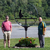 AUGUSTA, ME - AUGUST 26: Kieran Kammerer, left, who recently created this metal sign, poses with Raymond Fecteau at dedication ceremony Thursday August 26, 2021 at Mill Park pétanque courts. (Staff photo by Joe Phelan/Staff Photographer)