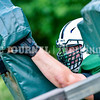 WINTHROP, ME - AUGUST 31: Jacob Umberhine hits a blocking sled during Monmouth-Winthrop football practice Tuesday August 31, 2021 at Winthrop High School. (Staff photo by Joe Phelan/Staff Photographer)