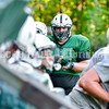 WINTHROP, ME - AUGUST 31: Jacob Umberhine cheers on teammates hitting a blocking sled during Monmouth-Winthrop football practice Tuesday August 31, 2021 at Winthrop High School. (Staff photo by Joe Phelan/Staff Photographer)