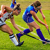 GARDINER, ME - SEPTEMBER 1: Gardiner's Piper Lavoie<br /> tries to get ball back from Morse's Coco Cashman during field hockey game Wednesday September 1, 2021 on Somerville Field at Gardiner Area High School. (Staff photo by Joe Phelan/Staff Photographer)