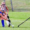 GARDINER, ME - SEPTEMBER 1: Morse's Kennedy St. Pierre, left, tries to get past <br /> Gardiner's Brianna Smith, top, and Piper Lavoie, right, during field hockey game Wednesday September 1, 2021 on Somerville Field at Gardiner Area High School. (Staff photo by Joe Phelan/Staff Photographer)