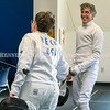 PORTLAND, ME - JULY 16: Sara Beck, (CQ no H) left, and Charles Melcher share a laugh while taking a break in the practicing with epees Friday July 16, 2021 at The Portland Fencing Center. (Staff photo by Joe Phelan/Staff Photographer)