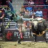 BANGOR, MAINE- JULY 23, 2021<br /> Triston Dean goes airborne while riding Dirty Dude during PBR Velocity Tour rodeo competition at the Cross Insurance Center on Friday, July 23, 2021. (Staff Photo by Michael G. Seamans/Staff Photographer)