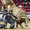 BANGOR, MAINE- JULY 23, 2021<br /> Bryan Titman runs from Trinity during PBR Velocity Tour rodeo competition at the Cross Insurance Center on Friday, July 23, 2021. (Staff Photo by Michael G. Seamans/Staff Photographer)