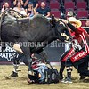 BANGOR, MAINE- JULY 23, 2021<br /> Cody McCandless gets thrown to the ground by Man Cow during PBR Velocity Tour rodeo competition at the Cross Insurance Center on Friday, July 23, 2021. (Staff Photo by Michael G. Seamans/Staff Photographer)