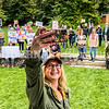 BELGRADE, ME - OCTOBER 2: After taking group shots from the gazebo of participants in the rally for women's rights Holly Hale grabbed a selfie  Saturday October 2, 2021 in Belgrade Lakes. (Staff photo by Joe Phelan/Staff Photographer)