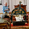 READFIELD, ME - SEPTEMBER 24: John Perry, talks about how to wind the recently repairs clock  Friday September 24, 2021 at the Readfield Union Meeting House in Readfield.  (Staff photo by Joe Phelan/Staff Photographer)