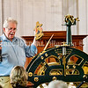 READFIELD, ME - SEPTEMBER 24: John Perry, shows the gold hands of the recently repairs clock  Friday September 24, 2021 at the Readfield Union Meeting House in Readfield.  (Staff photo by Joe Phelan/Staff Photographer)