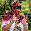 RICHMOND, ME - AUGUST 7: Jonathan Yellow Bear talks about the history of Abenakis on Swan Island and also also about the traditional regalia they're wearing during the bicentennial kickoff  Saturday August 7, 2021 in Richmond. (Staff photo by Joe Phelan/Staff Photographer)