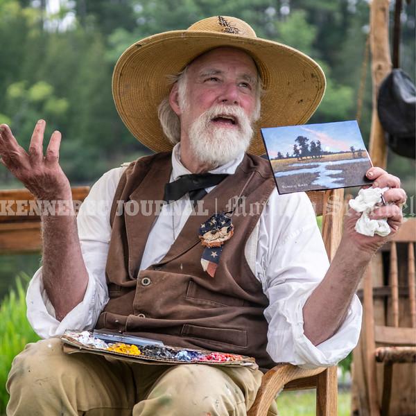 RICHMOND, ME - AUGUST 7: Painter Blaikie Hines talks about his work during the bicentennial kickoff  Saturday August 7, 2021 in Richmond. (Staff photo by Joe Phelan/Staff Photographer)