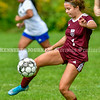 RICHMOND, ME - SEPTEMBER 11: Lila Viselli kicks ball during a soccer game  Saturday September 11, 2021 at Richmond Middle and High School. (Staff photo by Joe Phelan/Staff Photographer)