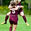 RICHMOND, ME - SEPTEMBER 11: Richmond 10 Alana Hixon, top, and 5 Breonna Dufrense celebrate Hixon's goal during a soccer game  Saturday September 11, 2021 at Richmond Middle and High School. (Staff photo by Joe Phelan/Staff Photographer)