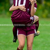 RICHMOND, ME - SEPTEMBER 11: Richmond 10 Alana Hixon, left, and 5 Breonna Dufrense celebrate Hixon's goal during a soccer game  Saturday September 11, 2021 at Richmond Middle and High School. (Staff photo by Joe Phelan/Staff Photographer)