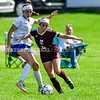 RICHMOND, ME - SEPTEMBER 11: Sacopee Valley Lindsey Fox, left, tries to stop Richmond's Nicole Tribett during a soccer game  Saturday September 11, 2021 at Richmond Middle and High School. (Staff photo by Joe Phelan/Staff Photographer)
