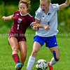 RICHMOND, ME - SEPTEMBER 11: ONE ON ONE: Richmond 1Lila Viselli, left, and Sacopee Valley 1 Bridget Landry battle for a ball during a soccer game  Saturday September 11, 2021 at Richmond Middle and High School. (Staff photo by Joe Phelan/Staff Photographer)