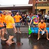 SKOWHEGAN, MAINE- AUGUST 5, 2021<br /> Team Moxie takes a break between races on Water Street in downtown Skowhegan as part of Main Street River Fest on Thursday, August 5, 2021. (Staff Photo by Michael G. Seamans/Staff Photographer)