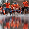SKOWHEGAN, MAINE- AUGUST 5, 2021<br /> Team Moxie competes in the annual bed races on Water Street in downtown Skowhegan as part of Main Street River Fest on Thursday, August 5, 2021. (Staff Photo by Michael G. Seamans/Staff Photographer)