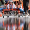 SKOWHEGAN, MAINE- AUGUST 5, 2021<br /> The girls soccer team from Skowhegan High school compete in the annual bed races on Water Street in downtown Skowhegan as part of Main Street River Fest on Thursday, August 5, 2021. (Staff Photo by Michael G. Seamans/Staff Photographer)