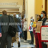 AUGUSTA, ME - SEPTEMBER 29: Coalition For Health Care Workers Against Medical Mandates protesters hold signs as members walk towards the House chamber to start a special legislative session Wednesday September 29, 2021 at the Maine State House in Augusta. (Staff photo by Joe Phelan/Staff Photographer)