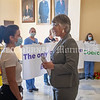 AUGUSTA, ME - SEPTEMBER 29: Emily Nixon, left, one of the organizers of the Coalition For Health Care Workers Against Medical Mandates, chats with Rep. Heidi Sampson, R-Alfred, in the rotunda before a special legislative session  Wednesday September 29, 2021 at the Maine State House in Augusta. (Staff photo by Joe Phelan/Staff Photographer)