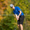VASSALBORO, ME - OCTOBER 8: <br /> Erskine Academy's Austin Nicholas putts during State Class B golf tournament Friday October 8, 2021 at Natanis Golf Club in Vassalboro. He finished tied for 39th. (Staff photo by Joe Phelan/Staff Photographer)