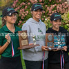 VASSALBORO, ME - OCTOBER 8: Leavitt girls took top three spots at State Class B golf tournament Friday October 8, 2021 at Natanis Golf Club in Vassalboro. From left, Jade Haylock with 83 and then Ruby Haylock and Alexis McCormick tied for second with 87. (Staff photo by Joe Phelan/Staff Photographer)