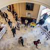 AUGUSTA, ME - SEPTEMBER 29: Coalition For Health Care Workers Against Medical Mandates protesters hold signs as people walk through rotunda the House chamber to start a special legislative session Wednesday September 29, 2021 at the Maine State House in Augusta. (Staff photo by Joe Phelan/Staff Photographer)