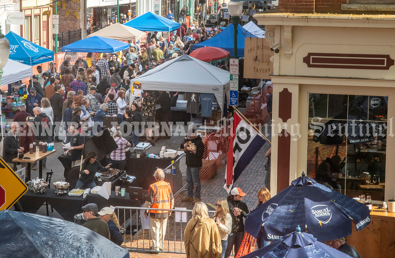 GARDINER, ME - OCTOBER 9: Water Street was full of booths and people during Swine and Stein festivities Saturday October 9, 2021 in downtown Gardiner. (Staff photo by Joe Phelan/Staff Photographer)