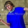 BRUNSWICK, ME - JULY 21: Chrissy Six returns a shot during table tennis game Wednesday July 21, 2021 at Spectrum Generations in Brunswick. (Staff photo by Joe Phelan/Staff Photographer)