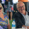 AUGUSTA, ME - SEPTEMBER 8: Retiring Augusta City Manager William Bridgeo, right and his wife Janice Bridgeo laugh as former mayor William Stokes tells funny stories about him during party Wednesday September 8, 2021 outside Augusta Civic Center. (Staff photo by Joe Phelan/Staff Photographer)
