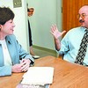 This August 17, 1999 staff file photo shows Augusta city manager Bill Bridgeo, right, confering with U.S. Senator Susan Collins (R-Maine) during a visit to his office in Augusta City Center.