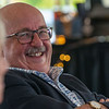 AUGUSTA, ME - SEPTEMBER 8: Retiring Augusta City Manager William Bridgeo, laughs as former mayor William Stokes tells funny stories about him during party Wednesday September 8, 2021 outside Augusta Civic Center. (Staff photo by Joe Phelan/Staff Photographer)