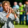 """WINDSOR, ME - SEPTEMBER 11: Carson Appel (CQ) plays """"Taps"""" to end the dedication ceremony Saturday September 11, 2021 for the new veteran's memorial in Windsor. (Staff photo by Joe Phelan/Staff Photographer)"""